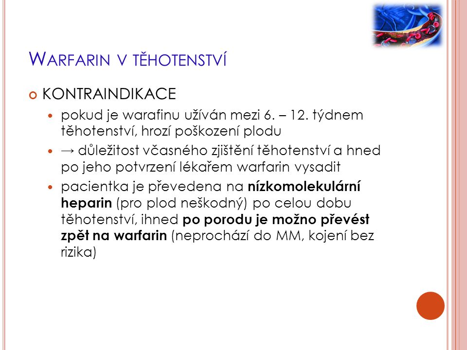 W ARFARIN V TĚHOTENSTVÍ KONTRAINDIKACE pokud je warafinu užíván mezi 6. – 12. týdnem těhotenství, hrozí poškození plodu → důležitost včasného zjištění
