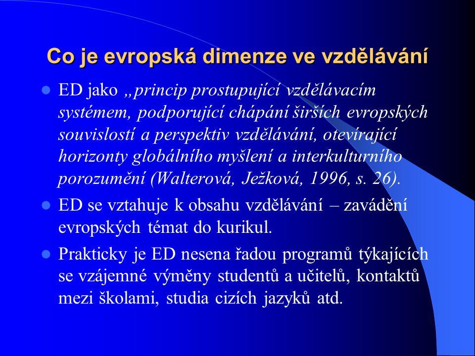 """Co je evropská dimenze ve vzdělávání ED jako """"princip prostupující vzdělávacím systémem, podporující chápání širších evropských souvislostí a perspektiv vzdělávání, otevírající horizonty globálního myšlení a interkulturního porozumění (Walterová, Ježková, 1996, s."""