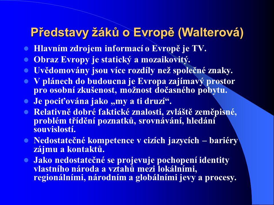 Představy žáků o Evropě (Walterová) Hlavním zdrojem informací o Evropě je TV.