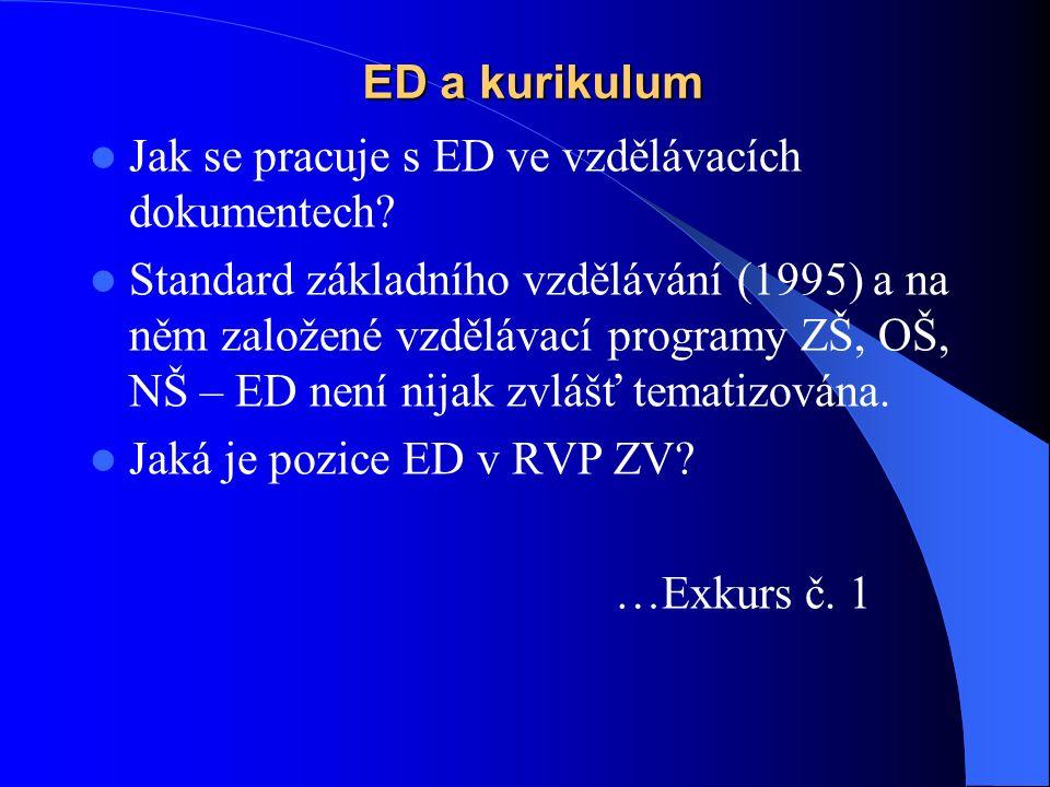 ED a kurikulum Jak se pracuje s ED ve vzdělávacích dokumentech.