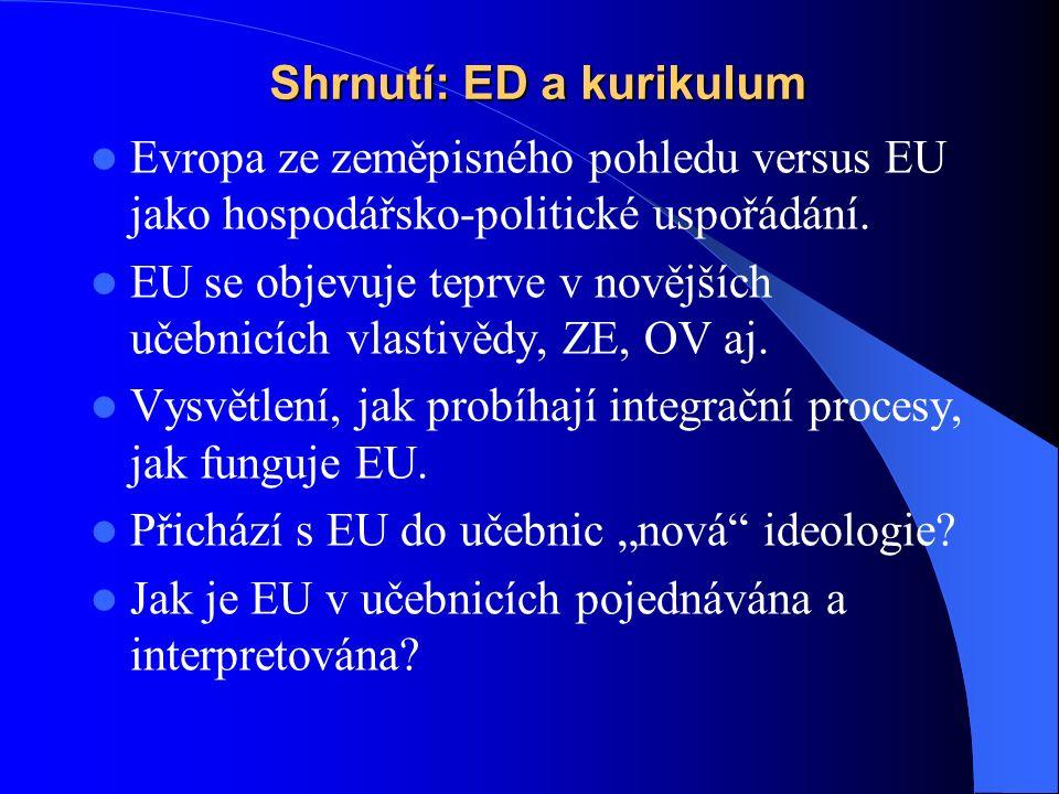 Shrnutí: ED a kurikulum Evropa ze zeměpisného pohledu versus EU jako hospodářsko-politické uspořádání.