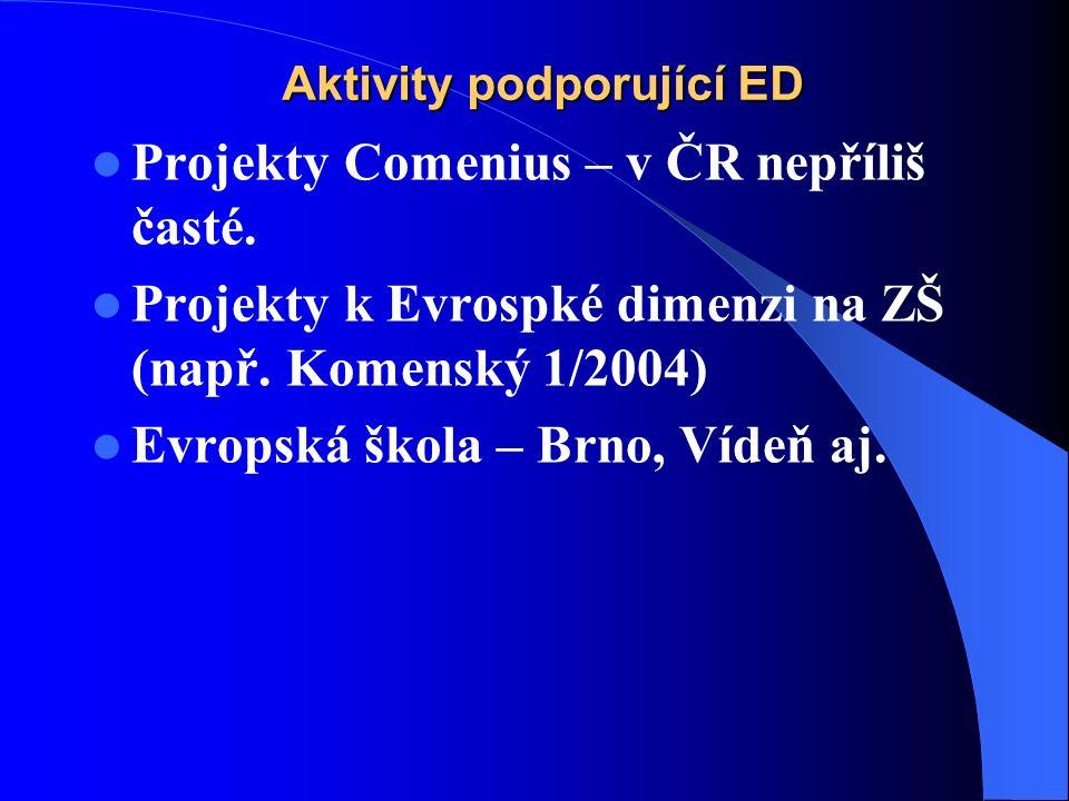 Aktivity podporující ED Projekty Comenius – v ČR nepříliš časté.