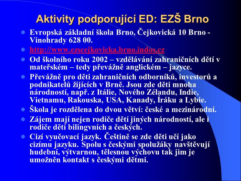Aktivity podporující ED: EZŠ Brno Evropská základní škola Brno, Čejkovická 10 Brno - Vinohrady 628 00.