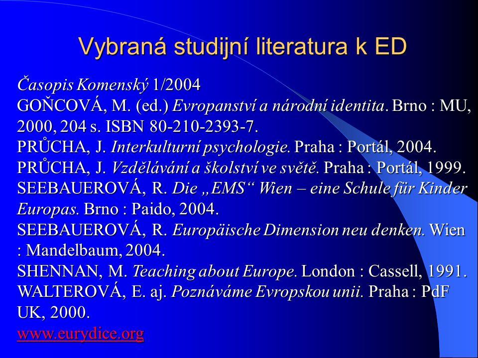 Vybraná studijní literatura k ED Časopis Komenský 1/2004 GOŇCOVÁ, M.