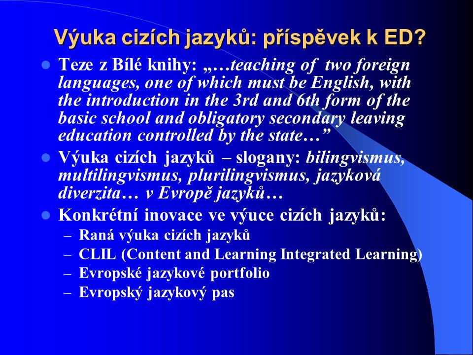 Výuka cizích jazyků: příspěvek k ED.