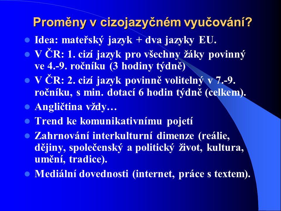Proměny v cizojazyčném vyučování. Idea: mateřský jazyk + dva jazyky EU.
