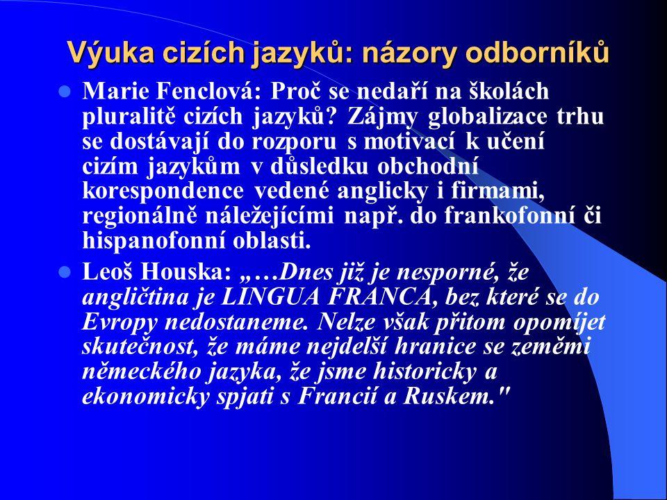 Výuka cizích jazyků: názory odborníků Marie Fenclová: Proč se nedaří na školách pluralitě cizích jazyků.