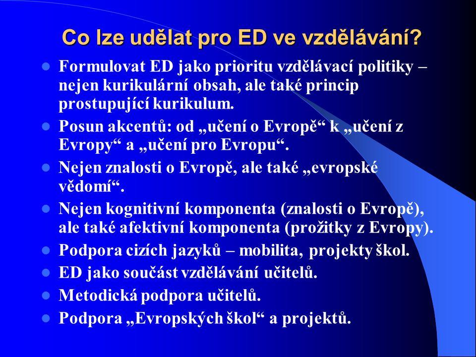 Co lze udělat pro ED ve vzdělávání.