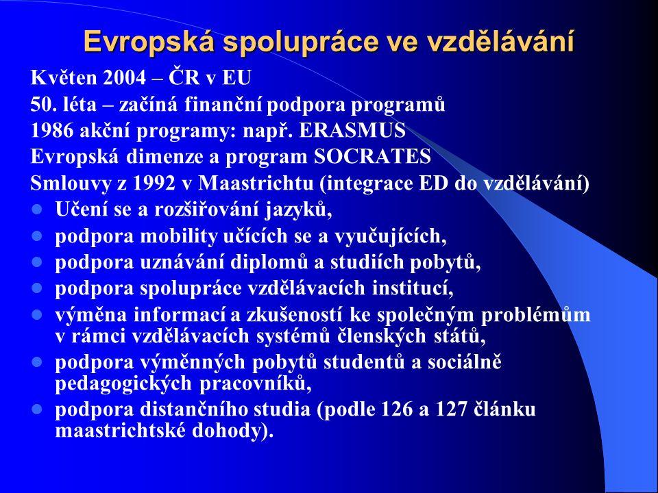 Evropská spolupráce ve vzdělávání Květen 2004 – ČR v EU 50.