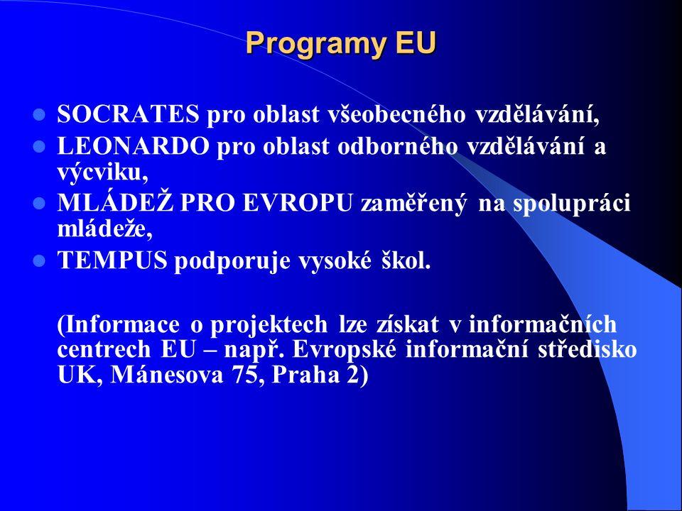 Programy EU SOCRATES pro oblast všeobecného vzdělávání, LEONARDO pro oblast odborného vzdělávání a výcviku, MLÁDEŽ PRO EVROPU zaměřený na spolupráci mládeže, TEMPUS podporuje vysoké škol.