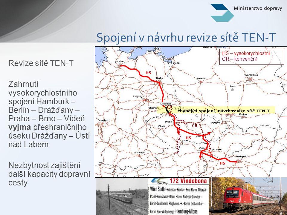 7 Spojení v návrhu revize sítě TEN-T Revize sítě TEN-T Zahrnutí vysokorychlostního spojení Hamburk – Berlín – Drážďany – Praha – Brno – Vídeň vyjma přeshraničního úseku Drážďany – Ústí nad Labem Nezbytnost zajištění další kapacity dopravní cesty chybějící spojení, návrh revize sítě TEN-T CR HS CR HS – vysokorychlostní CR – konvenční