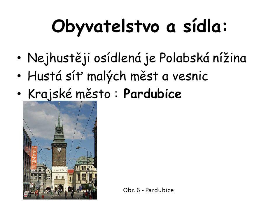 Obyvatelstvo a sídla: Nejhustěji osídlená je Polabská nížina Hustá síť malých měst a vesnic Krajské město : Pardubice Obr. 6 - Pardubice