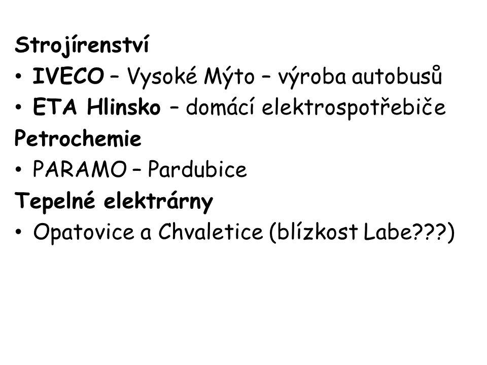 Strojírenství IVECO – Vysoké Mýto – výroba autobusů ETA Hlinsko – domácí elektrospotřebiče Petrochemie PARAMO – Pardubice Tepelné elektrárny Opatovice a Chvaletice (blízkost Labe )