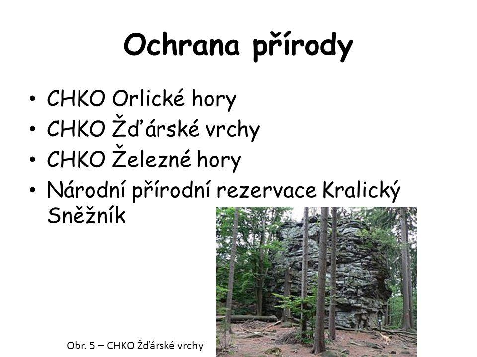 Ochrana přírody CHKO Orlické hory CHKO Žďárské vrchy CHKO Železné hory Národní přírodní rezervace Kralický Sněžník Obr.