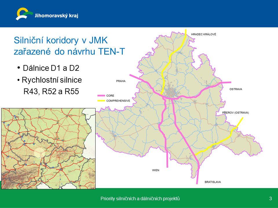 Silniční koridory v JMK zařazené do návrhu TEN-T Dálnice D1 a D2 Rychlostní silnice R43, R52 a R55 3Priority silničních a dálničních projektů