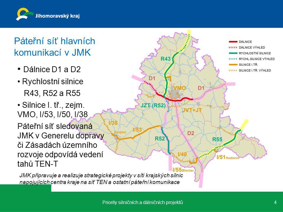 4 Páteřní síť hlavních komunikací v JMK Dálnice D1 a D2 Rychlostní silnice R43, R52 a R55 Silnice I.