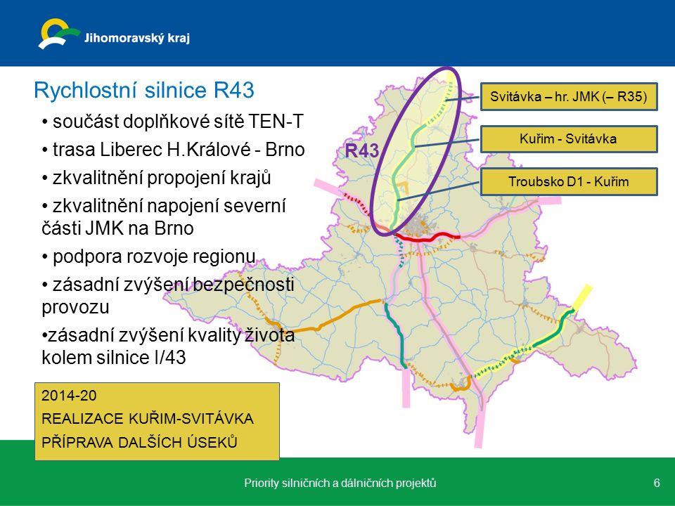 součást doplňkové sítě TEN-T trasa Liberec H.Králové - Brno zkvalitnění propojení krajů zkvalitnění napojení severní části JMK na Brno podpora rozvoje regionu zásadní zvýšení bezpečnosti provozu zásadní zvýšení kvality života kolem silnice I/43 6Priority silničních a dálničních projektů Rychlostní silnice R43 R43 Svitávka – hr.