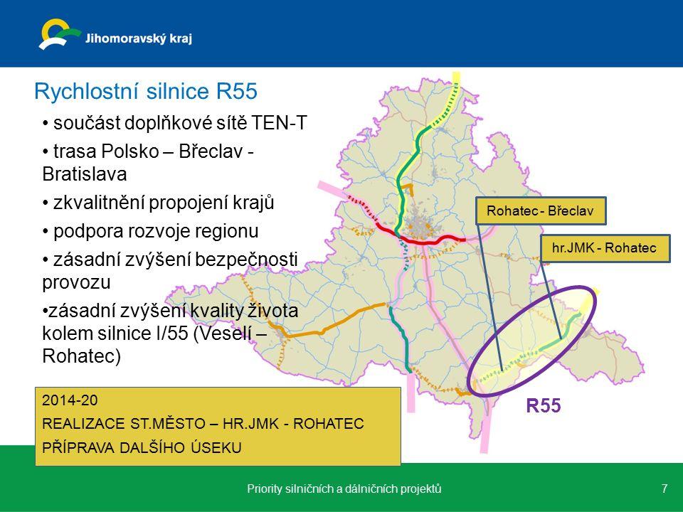 součást doplňkové sítě TEN-T trasa Polsko – Břeclav - Bratislava zkvalitnění propojení krajů podpora rozvoje regionu zásadní zvýšení bezpečnosti provozu zásadní zvýšení kvality života kolem silnice I/55 (Veselí – Rohatec) 7Priority silničních a dálničních projektů Rychlostní silnice R55 R55 Rohatec - Břeclav hr.JMK - Rohatec 2014-20 REALIZACE ST.MĚSTO – HR.JMK - ROHATEC PŘÍPRAVA DALŠÍHO ÚSEKU