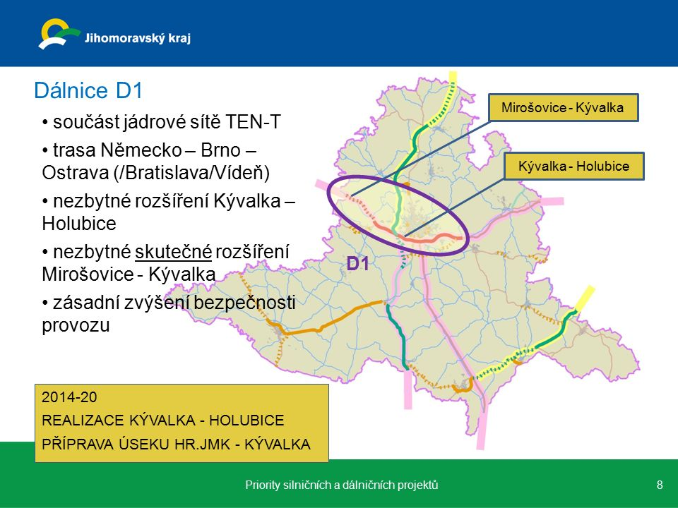 součást jádrové sítě TEN-T trasa Německo – Brno – Ostrava (/Bratislava/Vídeň) nezbytné rozšíření Kývalka – Holubice nezbytné skutečné rozšíření Mirošovice - Kývalka zásadní zvýšení bezpečnosti provozu 8Priority silničních a dálničních projektů Dálnice D1 D1 Mirošovice - Kývalka Kývalka - Holubice 2014-20 REALIZACE KÝVALKA - HOLUBICE PŘÍPRAVA ÚSEKU HR.JMK - KÝVALKA