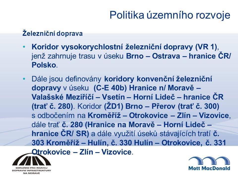 Železniční doprava Koridor vysokorychlostní železniční dopravy (VR 1), jenž zahrnuje trasu v úseku Brno – Ostrava – hranice ČR/ Polsko. Dále jsou defi