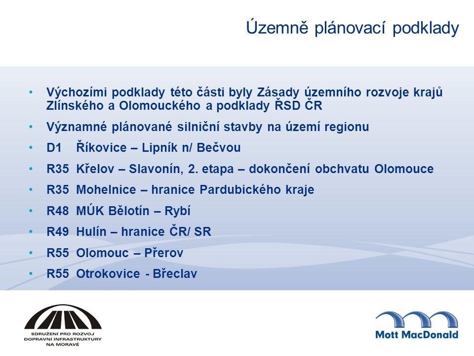 Územně plánovací podklady Výchozími podklady této části byly Zásady územního rozvoje krajů Zlínského a Olomouckého a podklady ŘSD ČR Významné plánované silniční stavby na území regionu D1Říkovice – Lipník n/ Bečvou R35Křelov – Slavonín, 2.