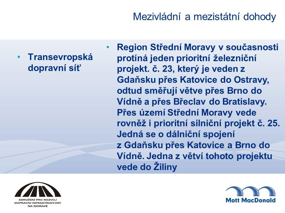 Mezivládní a mezistátní dohody Transevropská dopravní síť Region Střední Moravy v současnosti protíná jeden prioritní železniční projekt. č. 23, který