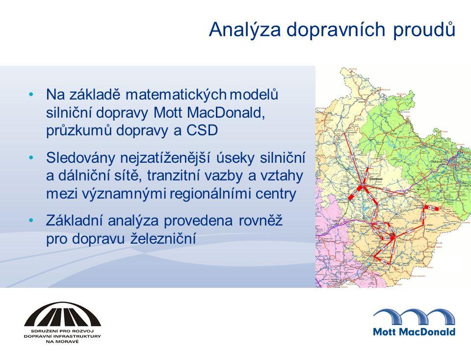 Analýza dopravních proudů Na základě matematických modelů silniční dopravy Mott MacDonald, průzkumů dopravy a CSD Sledovány nejzatíženější úseky silniční a dálniční sítě, tranzitní vazby a vztahy mezi významnými regionálními centry Základní analýza provedena rovněž pro dopravu železniční