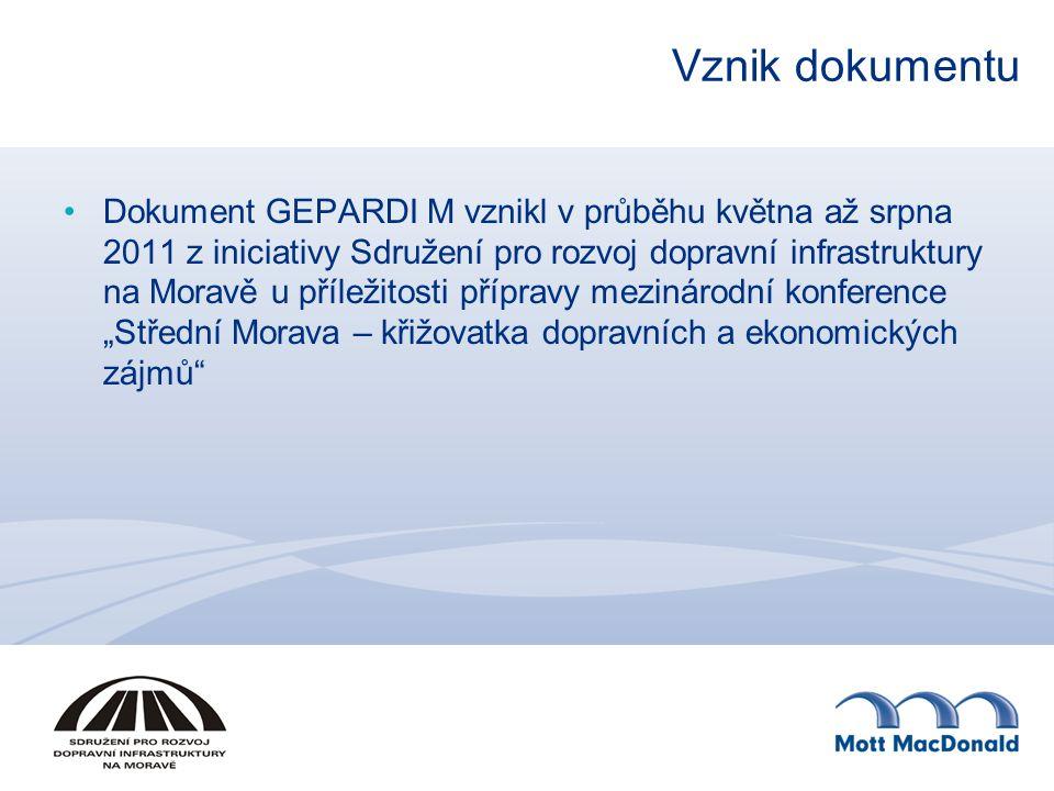 Vznik dokumentu Dokument GEPARDI M vznikl v průběhu května až srpna 2011 z iniciativy Sdružení pro rozvoj dopravní infrastruktury na Moravě u příležit