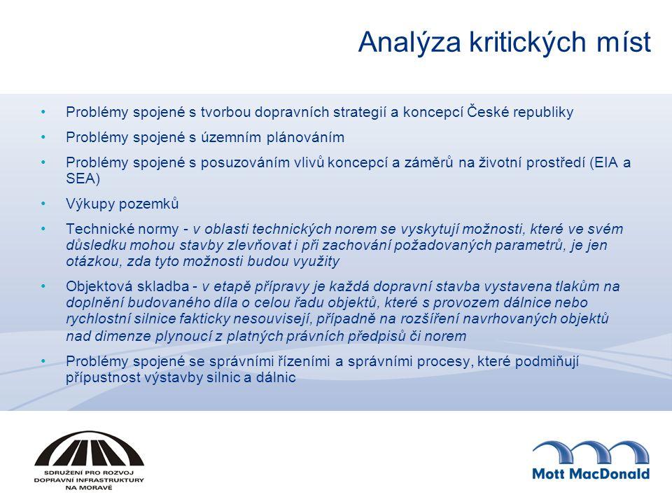 Analýza kritických míst Problémy spojené s tvorbou dopravních strategií a koncepcí České republiky Problémy spojené s územním plánováním Problémy spojené s posuzováním vlivů koncepcí a záměrů na životní prostředí (EIA a SEA) Výkupy pozemků Technické normy - v oblasti technických norem se vyskytují možnosti, které ve svém důsledku mohou stavby zlevňovat i při zachování požadovaných parametrů, je jen otázkou, zda tyto možnosti budou využity Objektová skladba - v etapě přípravy je každá dopravní stavba vystavena tlakům na doplnění budovaného díla o celou řadu objektů, které s provozem dálnice nebo rychlostní silnice fakticky nesouvisejí, případně na rozšíření navrhovaných objektů nad dimenze plynoucí z platných právních předpisů či norem Problémy spojené se správními řízeními a správními procesy, které podmiňují přípustnost výstavby silnic a dálnic
