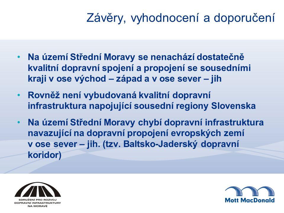 Závěry, vyhodnocení a doporučení Na území Střední Moravy se nenachází dostatečně kvalitní dopravní spojení a propojení se sousedními kraji v ose východ – západ a v ose sever – jih Rovněž není vybudovaná kvalitní dopravní infrastruktura napojující sousední regiony Slovenska Na území Střední Moravy chybí dopravní infrastruktura navazující na dopravní propojení evropských zemí v ose sever – jih.