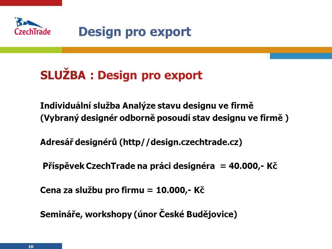 10 Design pro export SLUŽBA : Design pro export Individuální služba Analýze stavu designu ve firmě (Vybraný designér odborně posoudí stav designu ve f