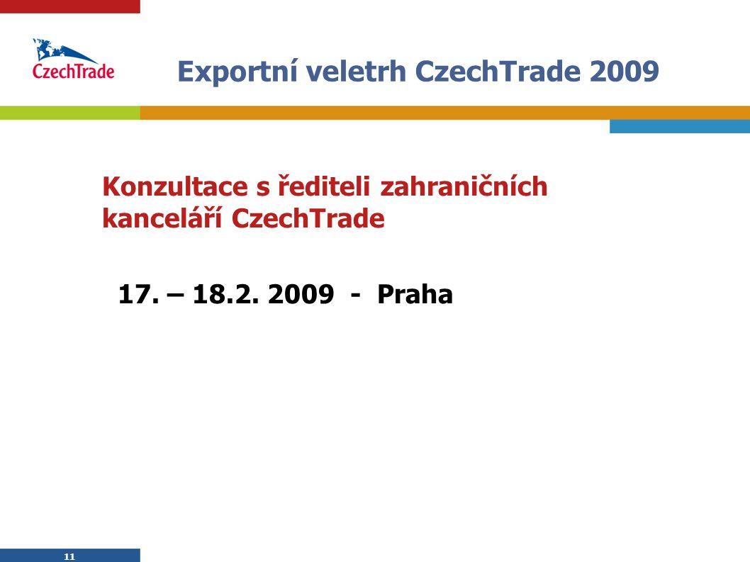 11 Exportní veletrh CzechTrade 2009 Konzultace s řediteli zahraničních kanceláří CzechTrade 17. – 18.2. 2009 - Praha 11