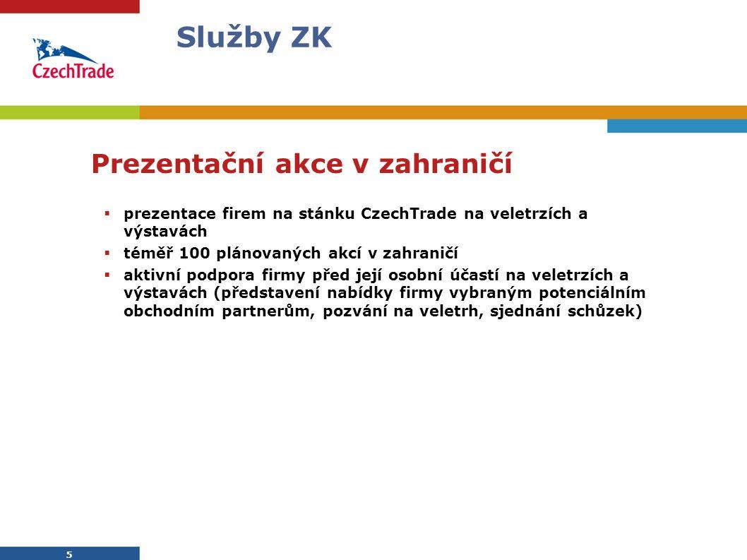 5 Služby ZK Prezentační akce v zahraničí  prezentace firem na stánku CzechTrade na veletrzích a výstavách  téměř 100 plánovaných akcí v zahraničí 