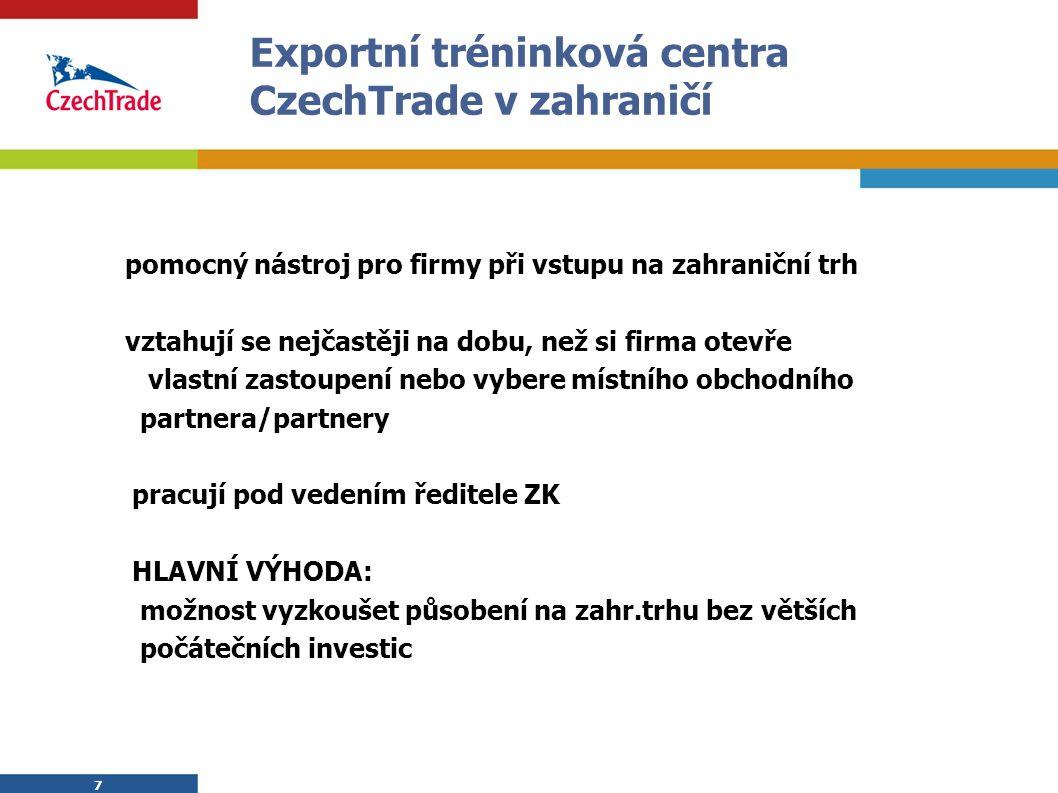 7 Exportní tréninková centra CzechTrade v zahraničí pomocný nástroj pro firmy při vstupu na zahraniční trh vztahují se nejčastěji na dobu, než si firm