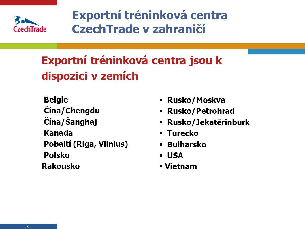 9 Exportní tréninková centra CzechTrade v zahraničí Exportní tréninková centra jsou k dispozici v zemích Belgie Čína/Chengdu Čína/Šanghaj Kanada Pobal