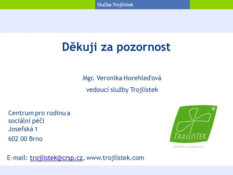 Projekt Trojlístek Služba Trojlístek Děkuji za pozornost Josefská 1 602 00 Brno Centrum pro rodinu a sociální péči Mgr.