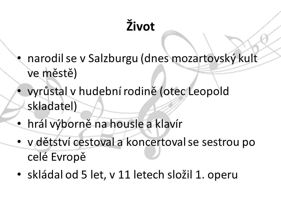 Život narodil se v Salzburgu (dnes mozartovský kult ve městě) vyrůstal v hudební rodině (otec Leopold skladatel) hrál výborně na housle a klavír v dětství cestoval a koncertoval se sestrou po celé Evropě skládal od 5 let, v 11 letech složil 1.