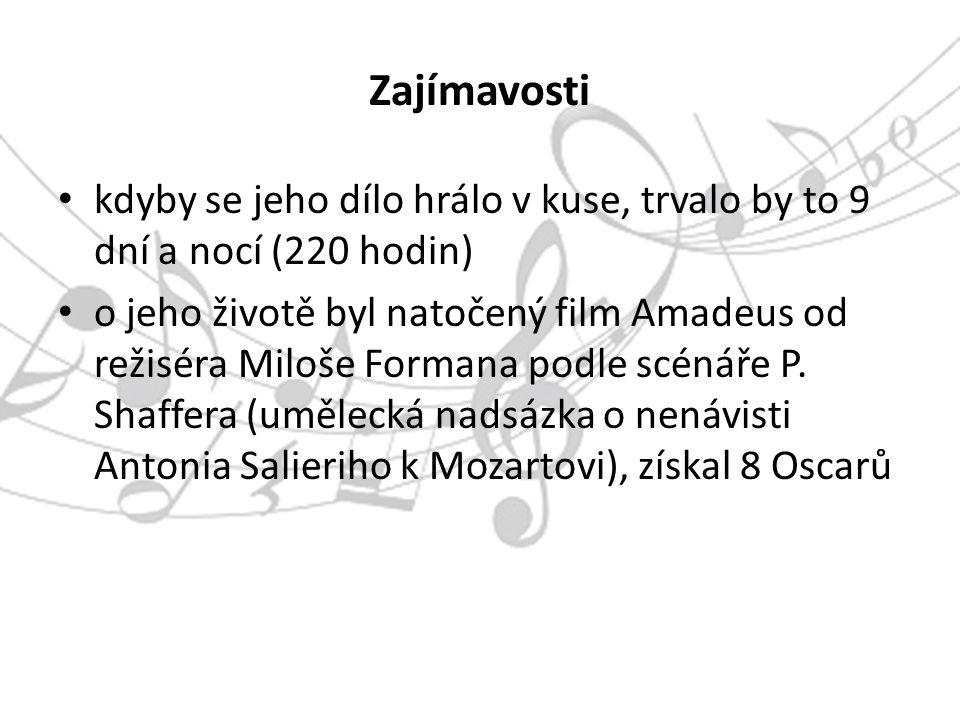Zajímavosti kdyby se jeho dílo hrálo v kuse, trvalo by to 9 dní a nocí (220 hodin) o jeho životě byl natočený film Amadeus od režiséra Miloše Formana podle scénáře P.
