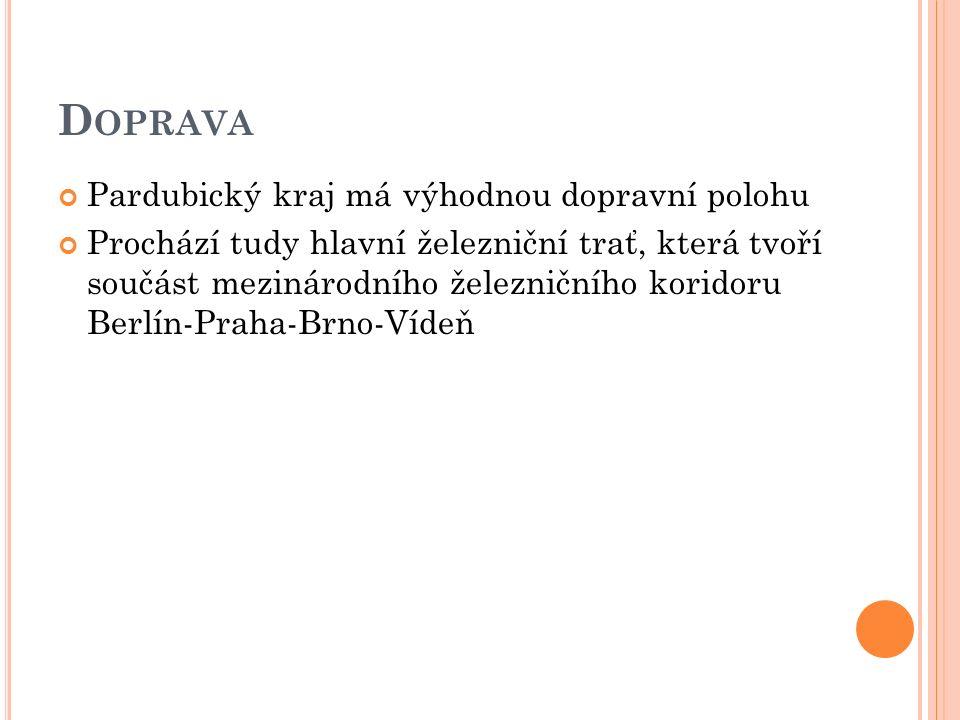 D OPRAVA Pardubický kraj má výhodnou dopravní polohu Prochází tudy hlavní železniční trať, která tvoří součást mezinárodního železničního koridoru Berlín-Praha-Brno-Vídeň