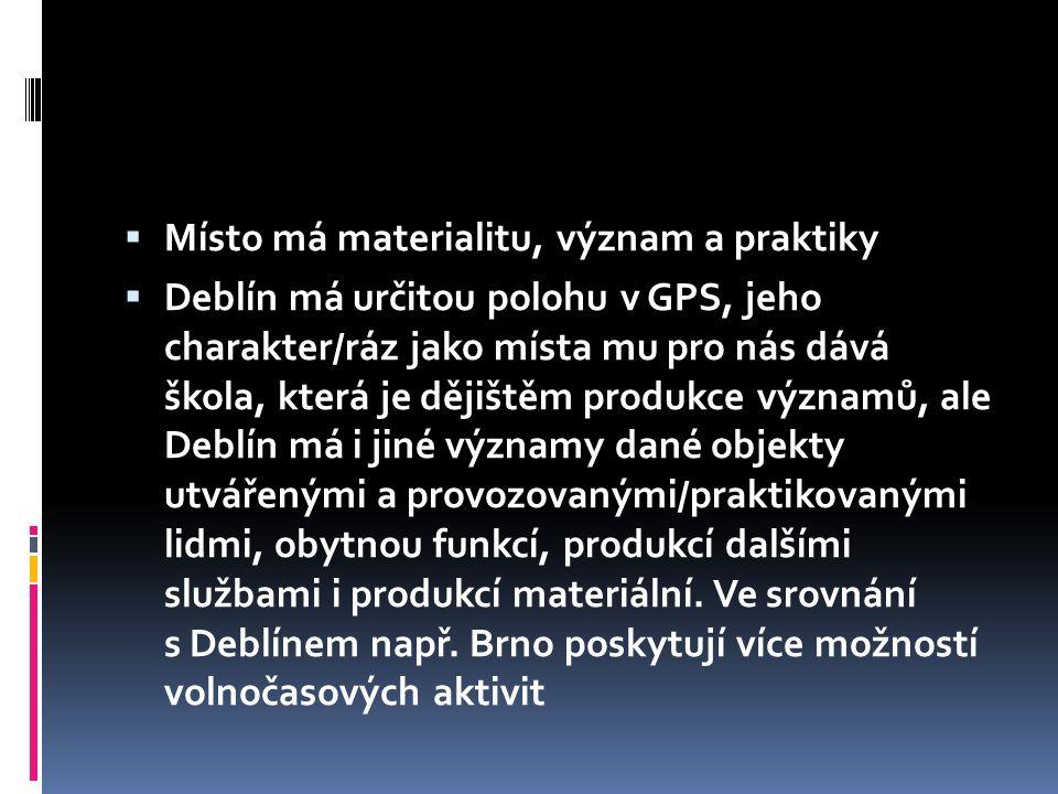  Místo má materialitu, význam a praktiky  Deblín má určitou polohu v GPS, jeho charakter/ráz jako místa mu pro nás dává škola, která je dějištěm pro