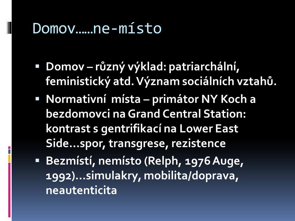 Domov……ne-místo  Domov – různý výklad: patriarchální, feministický atd. Význam sociálních vztahů.  Normativní místa – primátor NY Koch a bezdomovci