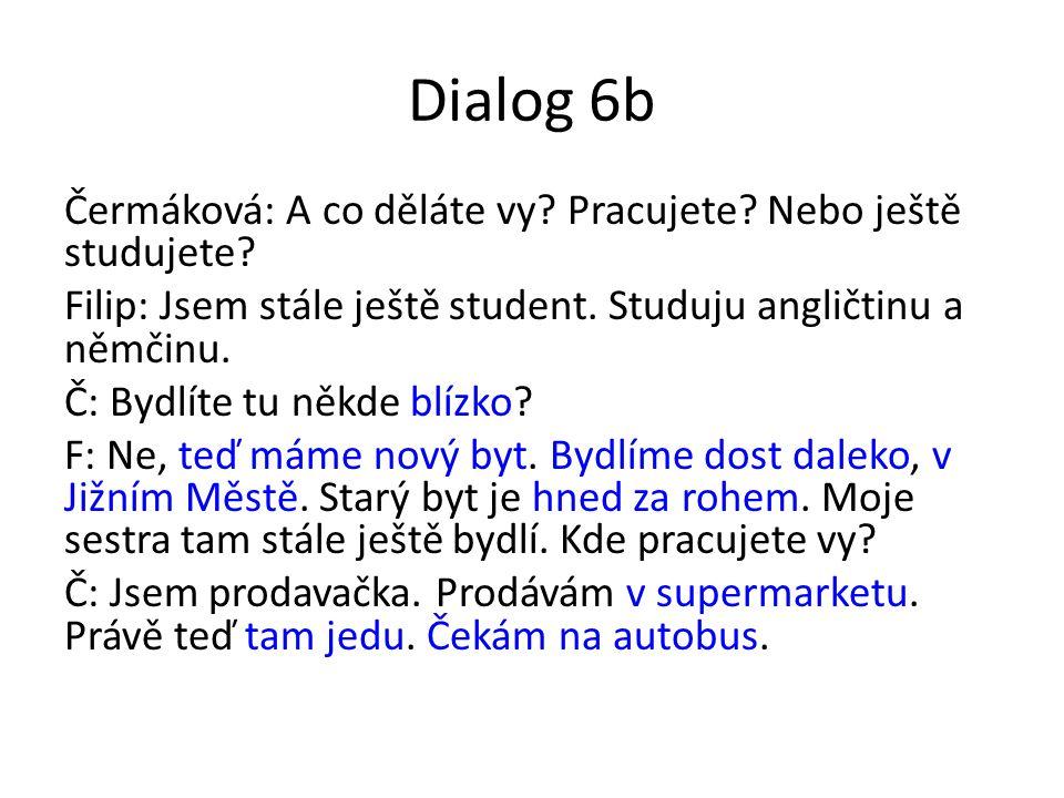 Dialog 6b Čermáková: A co děláte vy.Pracujete. Nebo ještě studujete.