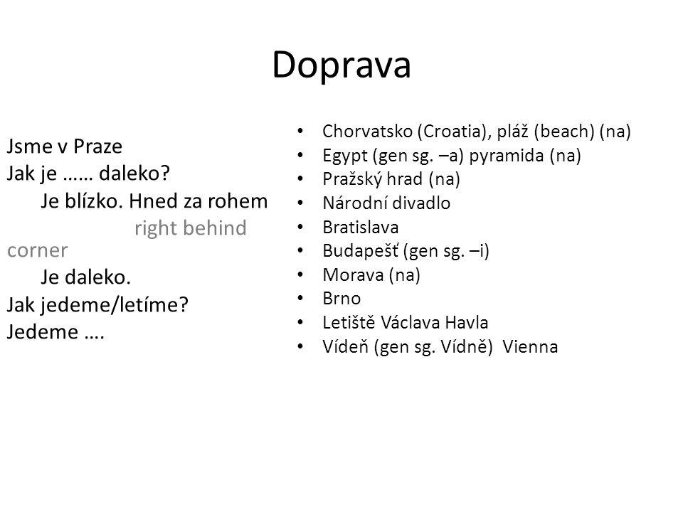 Doprava Jsme v Praze Jak je …… daleko.Je blízko. Hned za rohem right behind corner Je daleko.