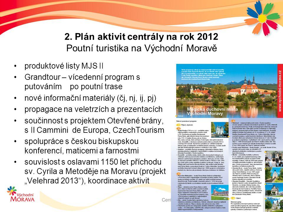 2. Plán aktivit centrály na rok 2012 Poutní turistika na Východní Moravě produktové listy MJS II Grandtour – vícedenní program s putováním po poutní t