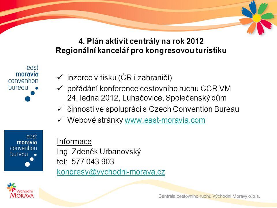 4. Plán aktivit centrály na rok 2012 Regionální kancelář pro kongresovou turistiku inzerce v tisku (ČR i zahraničí) pořádání konference cestovního ruc