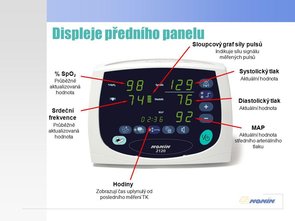 Tlačítka předního panelu - sloupec Akustický alarm Limity parametrů Plus - zvětšení hodnoty Minus - snížení hodnoty Zapnuto/Standby Měření TK Stlačte a držte 1 sekundu - zapne, 3 sekundy - vypne Stlačením zahájíte nebo zrušíte měření Stlačením vypnete akustický alarm na dvě minuty Stlačením procházíte nastavení parametrů Stlačením snížíte hodnotu parametru Stlačením zvýšíte hodnotu parametru