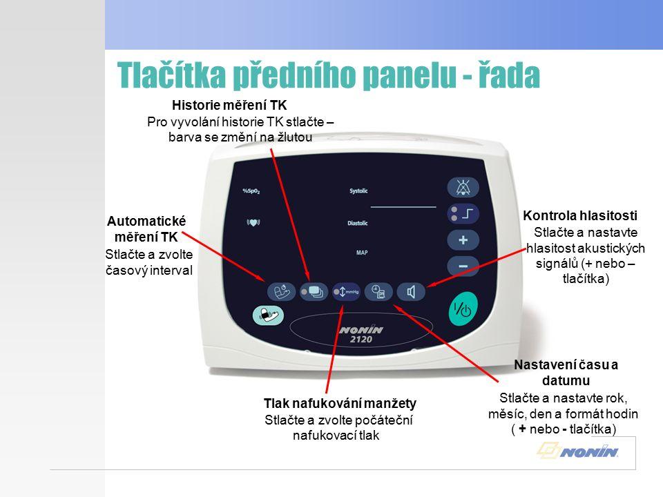 Displeje předního panelu Kontrola senzoru Kvalita pulsů Akustické alarmy Nafukovací tlak Indikátor baterií Indikuje artefakty nebo nadměrné pohyby pacienta Indikuje nesprávné nebo žádné umístění senzoru Indikuje vypnutí akustických alarmů Zvolená hodnota nafukovacího tlaku Indikuje zdroj používané el.