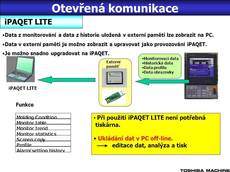 iPAQET LITE Data z monitorování a data z historie uložená v externí paměti lze zobrazit na PC.