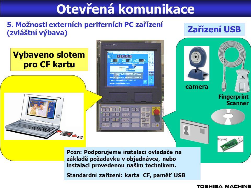 5. Možnosti externích periferních PC zařízení (zvláštní výbava) camera Fingerprint Scanner Zařízení USB Vybaveno slotem pro CF kartu Pozn: Podporujeme