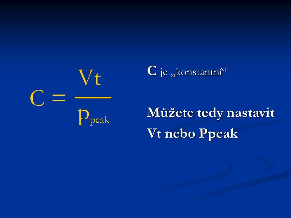 """C = VtVt p peak C je """"konstantní Můžete tedy nastavit Vt nebo Ppeak"""